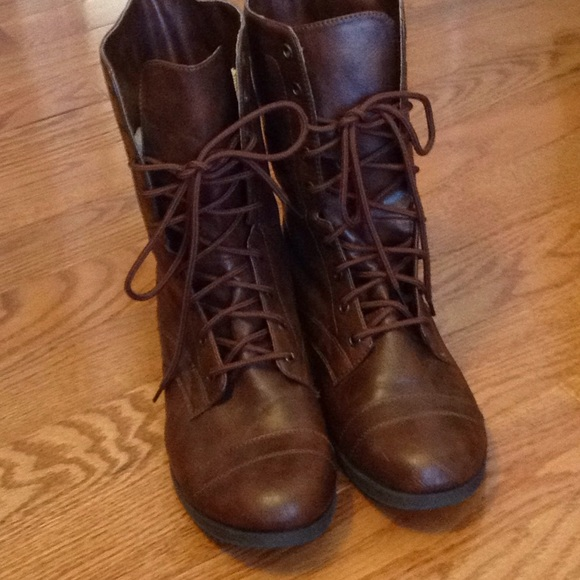 Brown Lace Up Combat Boots | Poshmark